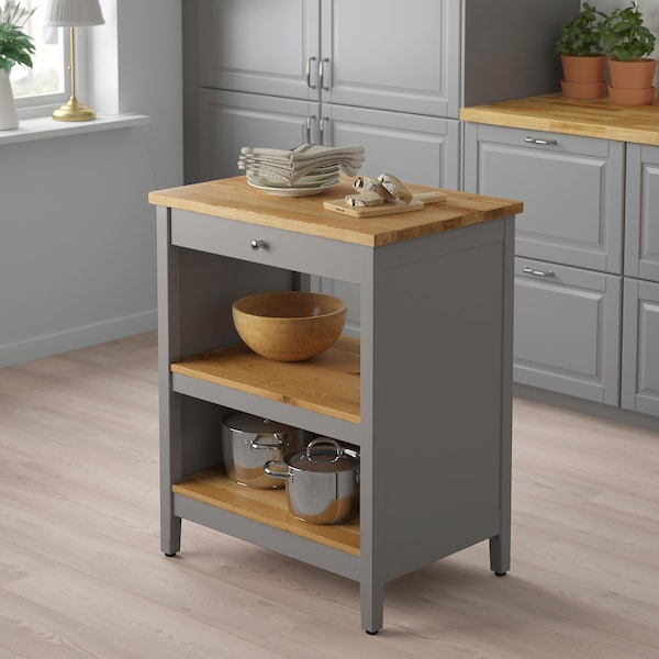 TORNVIKEN Kitchen island, grey/oak, 72x52 cm