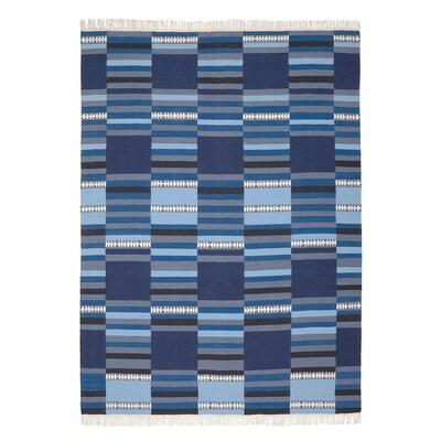 TRANGET سجاد، غزل مسطح, صناعة يدوية ألوان متعددة بظلال زرقاء, 170x240 سم