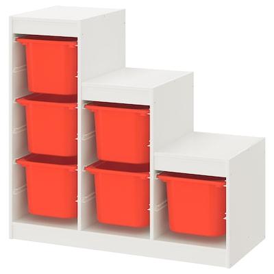 TROFAST تشكيلة تخزين, أبيض/برتقالي, 99x44x94 سم