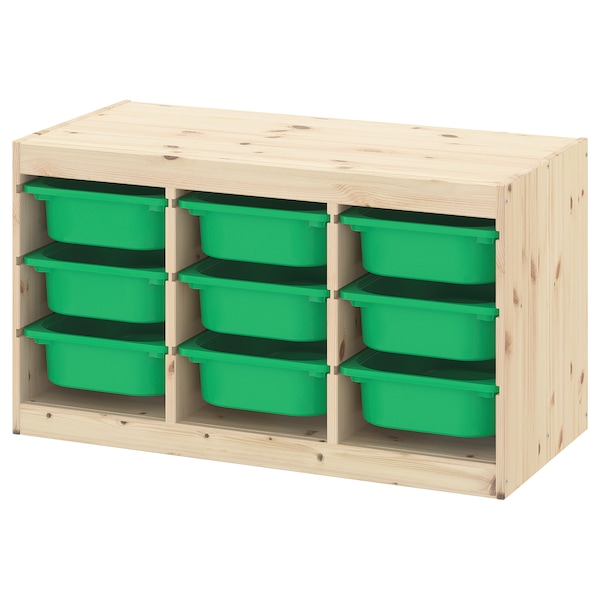 TROFAST Storage combination with boxes, light white stained pine/green, 94x44x52 cm