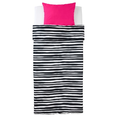 URSKOG Quilt cover and pillowcase, zebra/striped, 150x200/50x80 cm