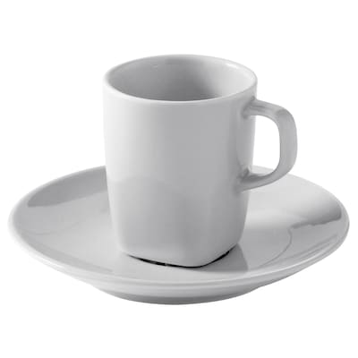VÄRDERA Espresso cup and saucer, white, 5 cl