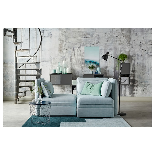 VALLENTUNA 2-seat modular sofa, with storage/Hillared light blue