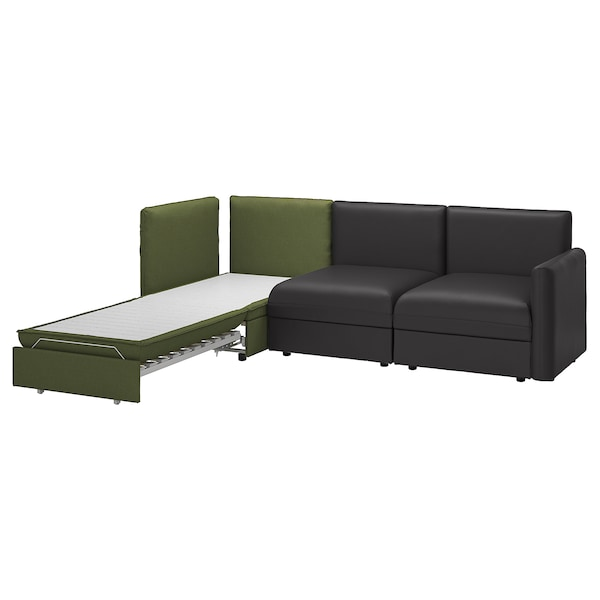VALLENTUNA 3-seat modular sofa with sofa-bed, and storage/Murum/Orrsta black/olive-green
