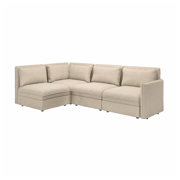 VALLENTUNA Modular corner sofa, 3-seat, with storage/Hillared beige
