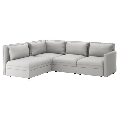 VALLENTUNA Modular corner sofa, 3-seat, with storage/Orrsta light grey