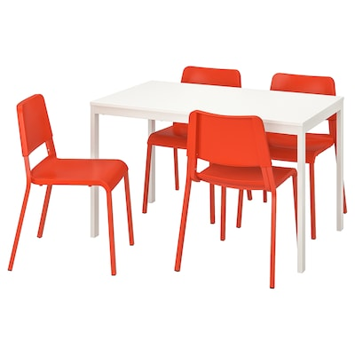 VANGSTA / TEODORES Table and 4 chairs, white/bright orange, 120/180 cm