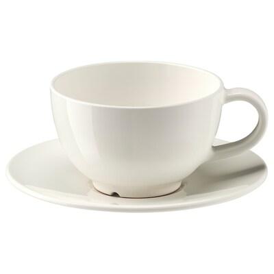VARDAGEN كوب شاي مع صحن, أبيض-عاجي, 26 سل