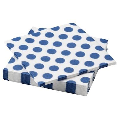 VATTENDANS Paper napkin, dotted/blue, 33x33 cm