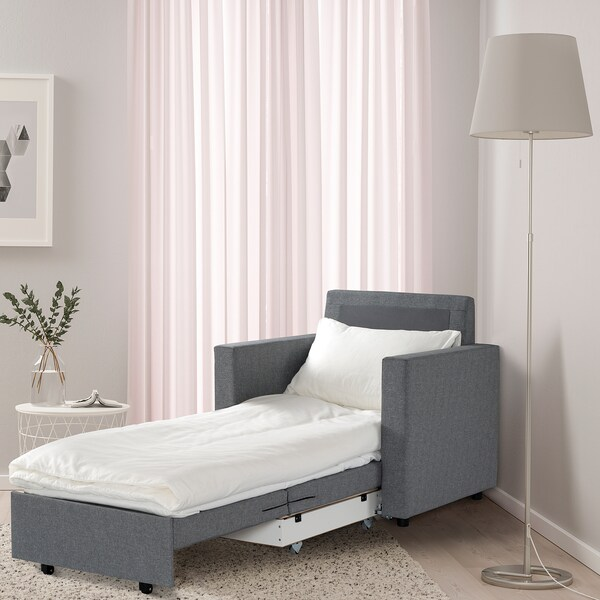 VATTVIKEN Armchair-bed, Lerhaga light grey