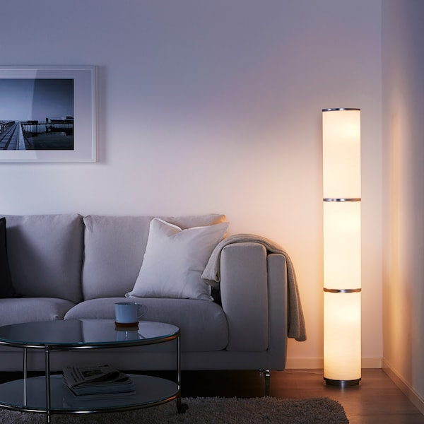 VIDJA Floor lamp, white, 138 cm