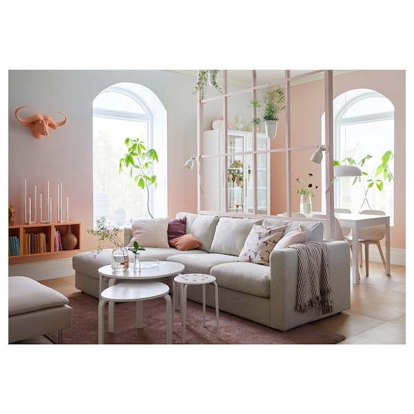 VIMLE 3-seat sofa with chaise longue/Gunnared beige 83 cm 68 cm 164 cm 252 cm 98 cm 125 cm 6 cm 15 cm 68 cm 222 cm 55 cm 48 cm