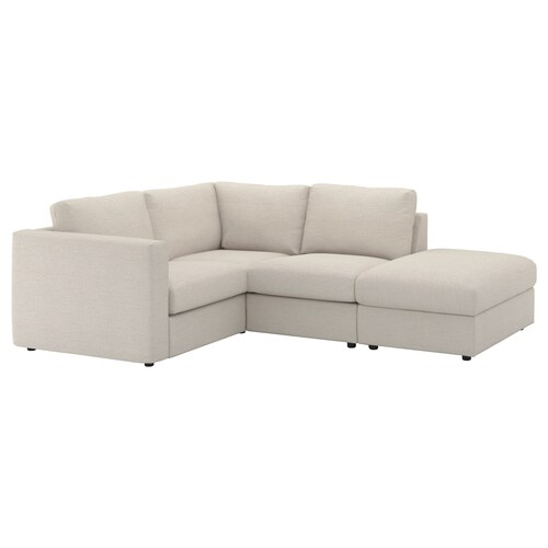VIMLE corner sofa, 3-seat with open end/Gunnared beige 83 cm 68 cm 98 cm 235 cm 195 cm 122 cm 179 cm 6 cm 15 cm 68 cm 55 cm 48 cm