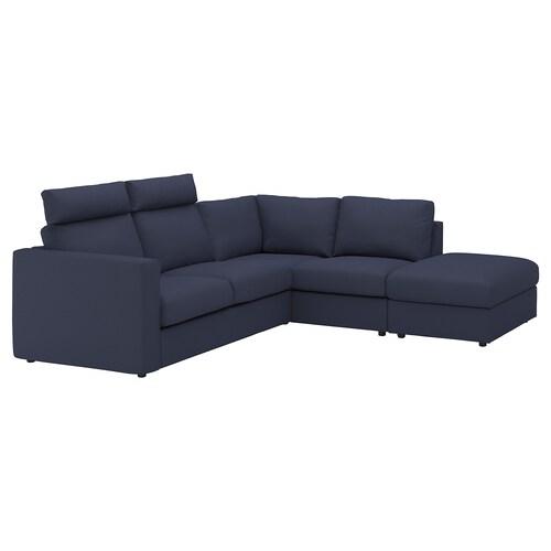 VIMLE corner sofa, 4-seat with open end with headrests/Orrsta black-blue 103 cm 83 cm 68 cm 98 cm 235 cm 195 cm 192 cm 249 cm 6 cm 15 cm 68 cm 55 cm 48 cm
