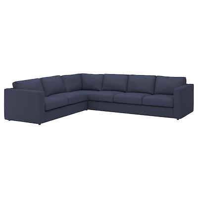 VIMLE أريكة زاوية، 5 مقاعد, Orrsta أسود-أزرق