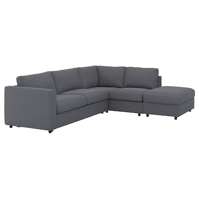 VIMLE Corner sofa-bed, 4-seat, with open end/Gunnared medium grey