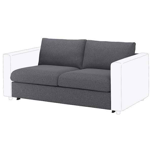 VIMLE Cover for 2-seat sofa-bed section, Gunnared medium grey