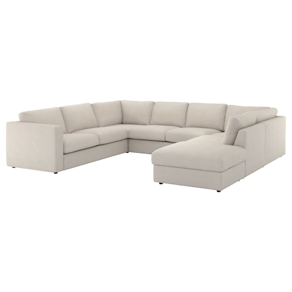 VIMLE Cover for u-shaped sofa, 6-seat, with open end/Gunnared beige