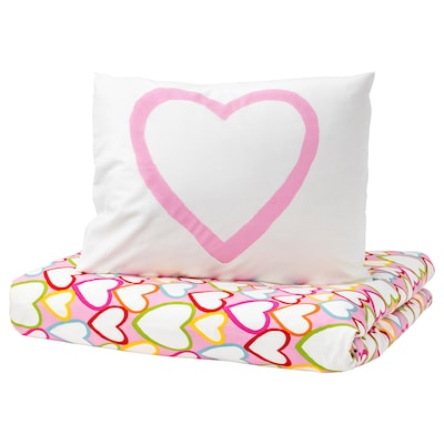 VITAMINER HJÄRTA Quilt cover and pillowcase, multicolour, 150x200/50x80 cm