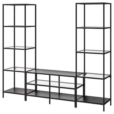 VITTSJÖ TV storage combination, black-brown/glass, 202x36x175 cm