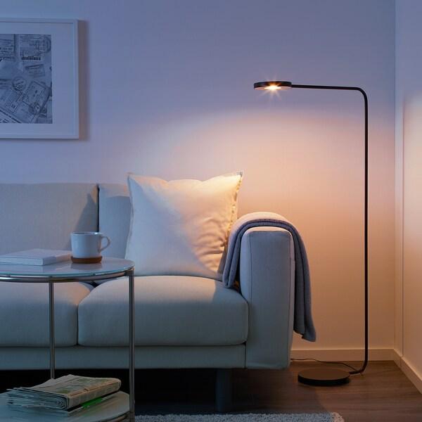 YPPERLIG LED floor lamp, dark grey
