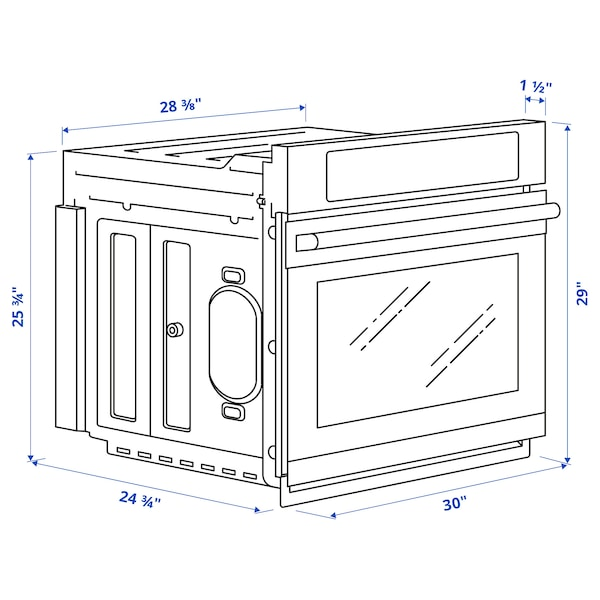 ADRÄTT Wall oven with true conv+self-clean, Stainless steel