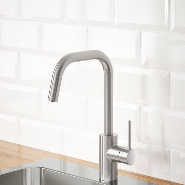 """ÄLMAREN kitchen faucet with pull-out spout stainless steel color 14 ¼ """""""