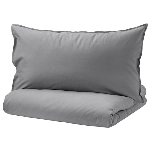 """ÄNGSLILJA duvet cover and pillowcase(s) gray 125 square inches 2 pack 86 """" 86 """" 20 """" 30 """""""