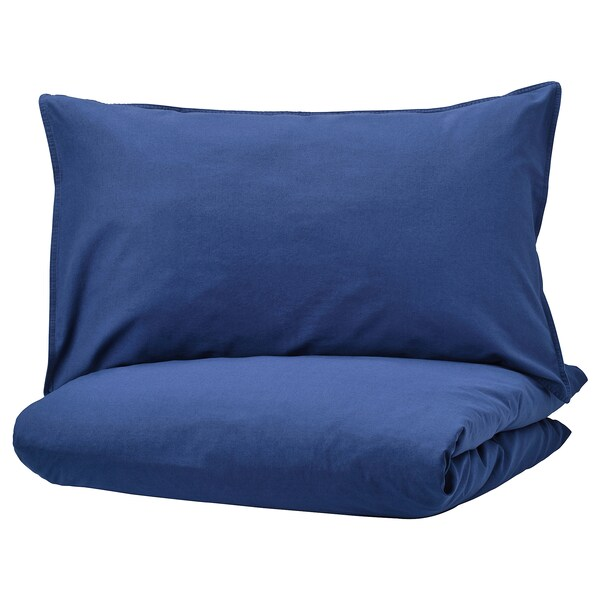 ÄNGSLILJA Duvet cover and pillowcase(s), dark blue, Twin