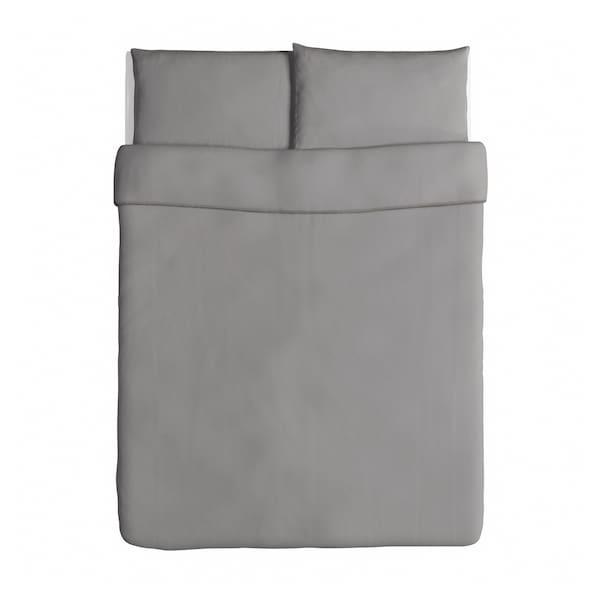 ÄNGSLILJA Duvet cover and pillowcase(s), gray, Full/Queen (Double/Queen)