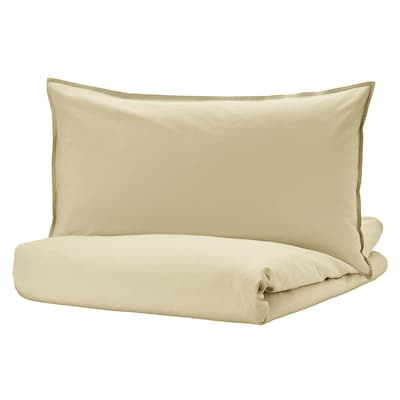 ÄNGSLILJA Duvet cover and pillowcase(s), light beige-green, Twin