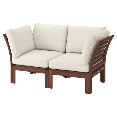 ÄPPLARÖ 2-seat modular sofa, outdoor, brown stained/Frösön/Duvholmen beige, 63x31 1/2x33 1/8 ""