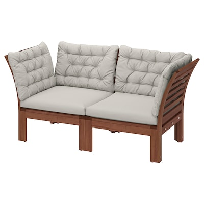 "ÄPPLARÖ 2-seat modular sofa, outdoor brown stained/Kuddarna gray 63 "" 31 1/2 "" 31 1/2 "" 22 1/2 "" 14 1/8 """