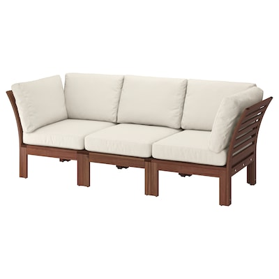 "ÄPPLARÖ 3-seat modular sofa, outdoor brown stained/Frösön/Duvholmen beige 87 3/4 "" 31 1/2 "" 33 1/8 "" 19 1/4 "" 15 3/4 """