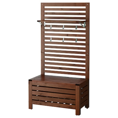 ÄPPLARÖ Bench w/wall panel + shelf, outdoor, brown stained, 31 1/2x17 3/8x62 1/4 ""