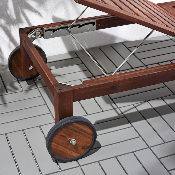 ÄPPLARÖ Chaise lounger, brown stained