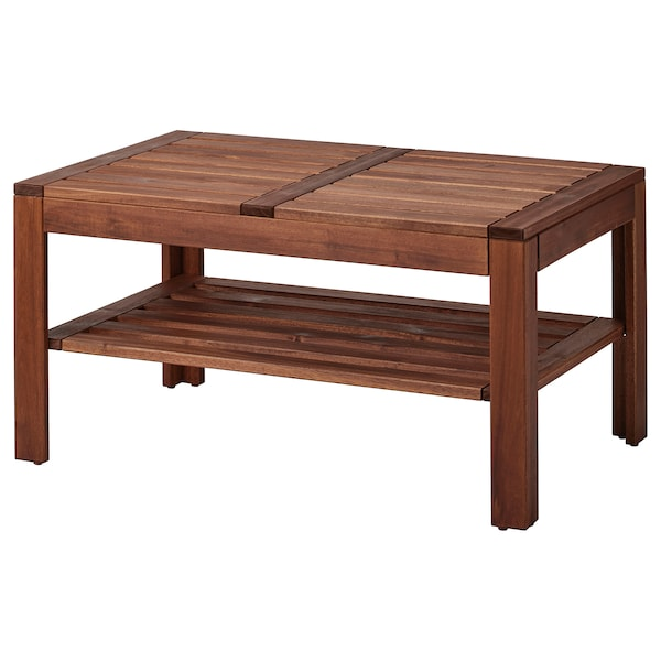 ÄPPLARÖ Coffee table, outdoor, brown stained, 35 3/8x21 5/8 ""