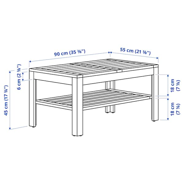 """ÄPPLARÖ Coffee table, outdoor, brown stained, 35 3/8x21 5/8 """""""