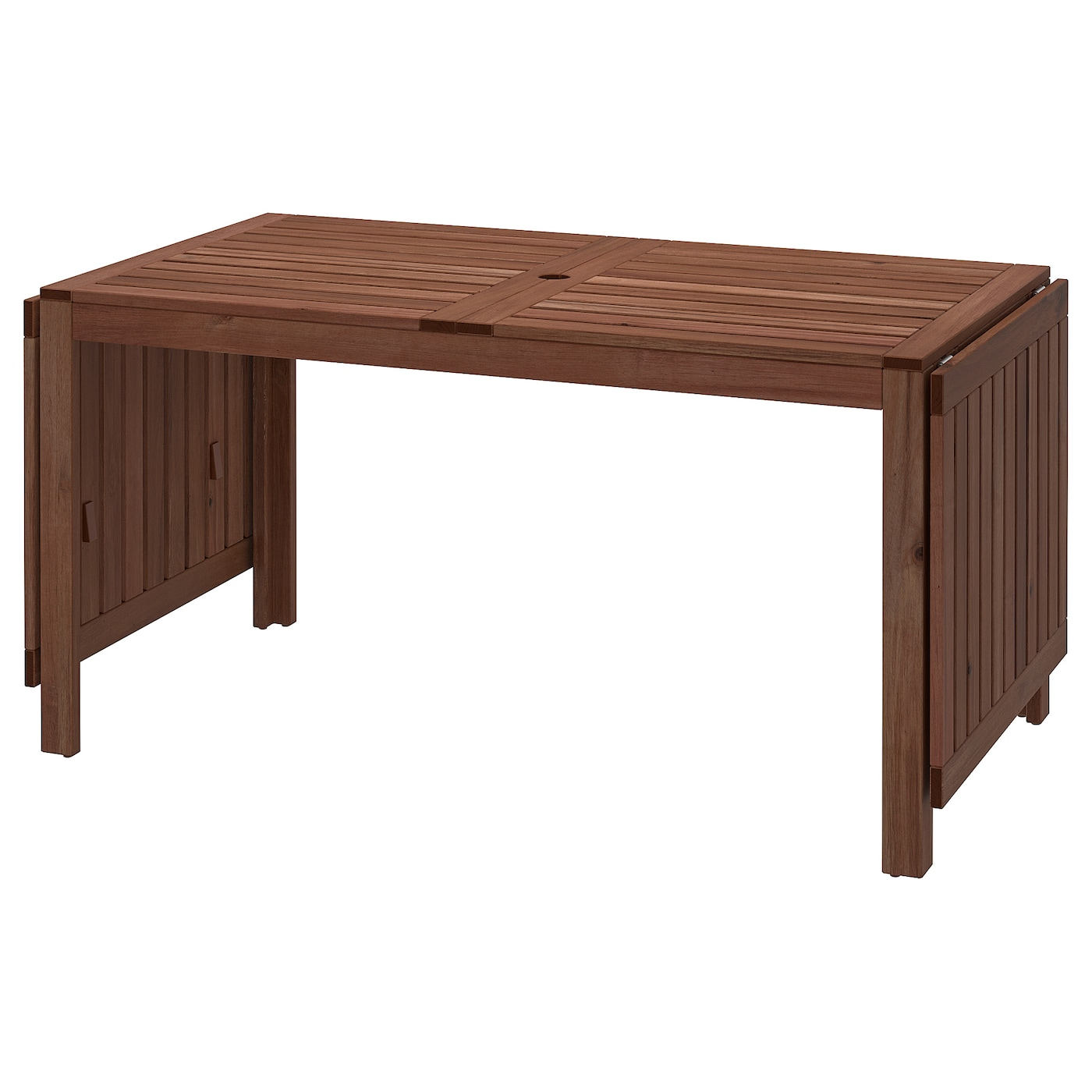 "ÄPPLARÖ Drop-leaf table, outdoor - brown stained 122 12/12/712 12/12/1202 12/12x120  12/12 "" (12120/12/12x712 cm)"