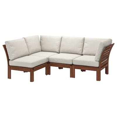 ÄPPLARÖ Modular corner sofa 3-seat, outdoor, brown stained/Frösön/Duvholmen beige, 56 1/4/87 3/4x31 1/2x33 1/8 ""
