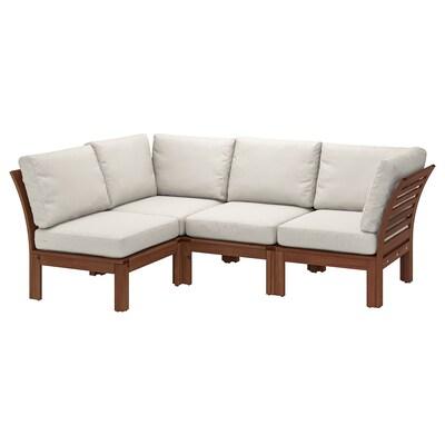 "ÄPPLARÖ modular corner sofa 3-seat, outdoor brown stained/Frösön/Duvholmen beige 31 1/2 "" 33 1/8 "" 87 3/4 "" 56 1/4 "" 19 1/4 "" 15 3/4 """