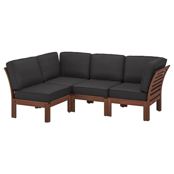 "ÄPPLARÖ modular corner sofa 3-seat, outdoor brown stained/Järpön/Duvholmen anthracite 31 1/2 "" 33 7/8 "" 87 3/4 "" 56 1/4 "" 18 1/2 "" 16 1/2 """