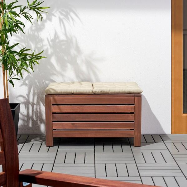 """ÄPPLARÖ Storage bench, outdoor, brown stained, 31 1/2x16 1/8 """""""