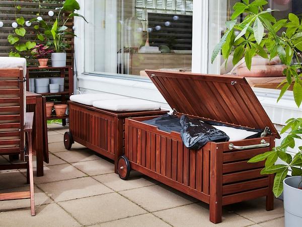 """ÄPPLARÖ Storage bench, outdoor, brown stained, 50 3/8x22 1/2 """""""