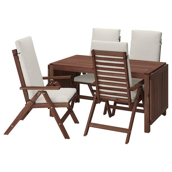 ÄPPLARÖ Table + 4 reclining chairs, outdoor, brown stained/Frösön/Duvholmen beige