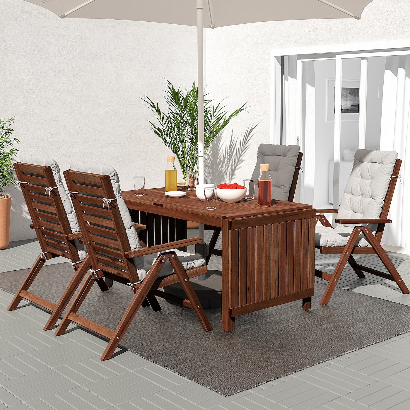 ÄPPLARÖ Table + 10 reclining chairs, outdoor - brown stained/Kuddarna gray