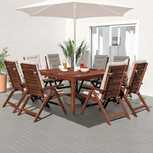 ÄPPLARÖ Table+8 reclining chairs, outdoor, brown stained/Kuddarna gray