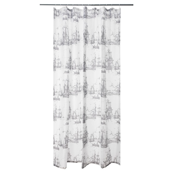 AGGERSUND Shower curtain, gray, 71x71 ""