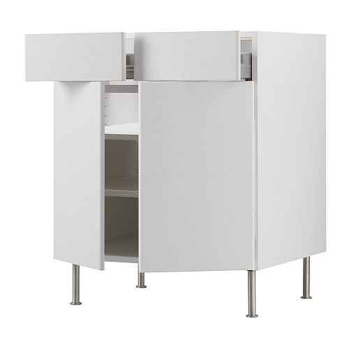 AKURUM Base cab/shelf/2 drawers/2 doors   Fully-extending, for easy overview and access to the contents of the drawers.