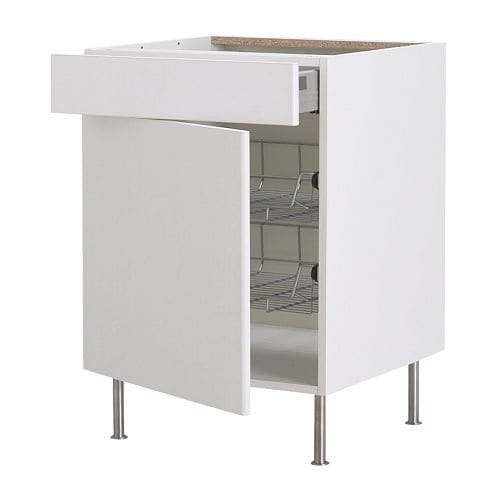 AKURUM Base cab w wire basket/drawer/door   Smooth-running wire baskets with pull-out stop.